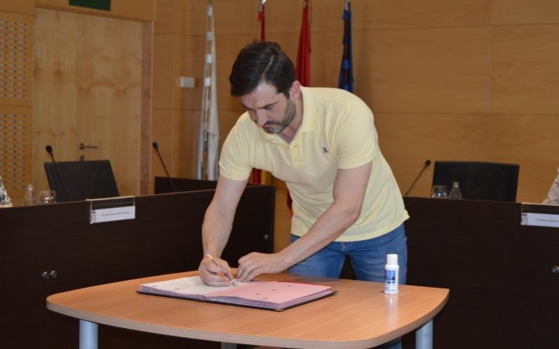 David París, durante la firma del Pacto de Reconstrucción 2020 de Arganda del Rey.