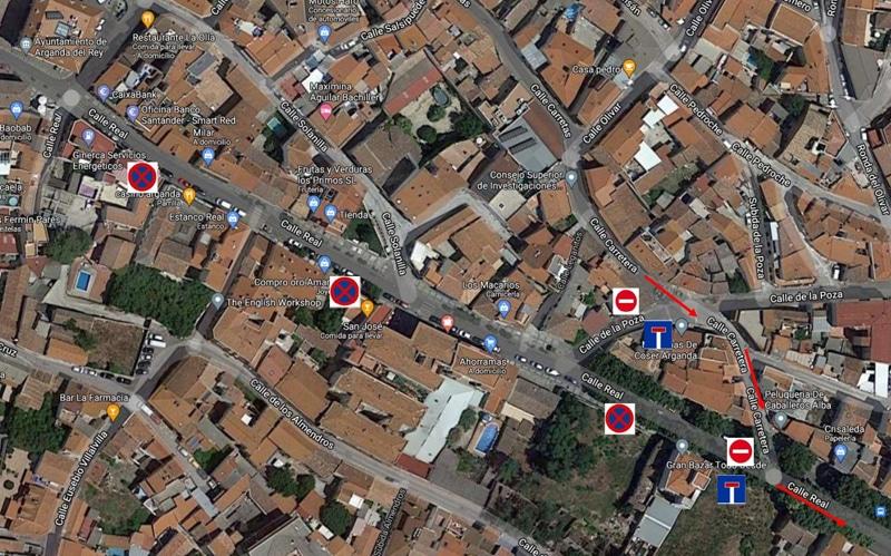 Cortes en la calle Real de Arganda por reposición de arbolado durante martes y miércoles