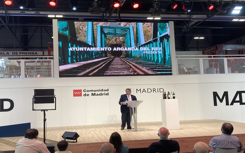 Irenio Vara, concejal de Turismo, durante la presentación de Arganda del Rey en la 41º edición de Fitur