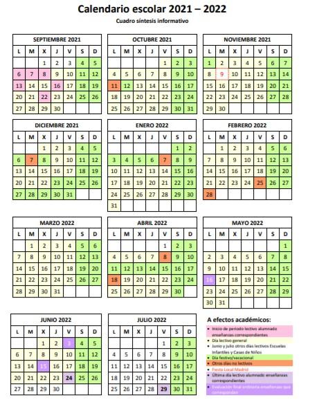 Calendario escolar Comunidad de Madrid curso 2021/2022
