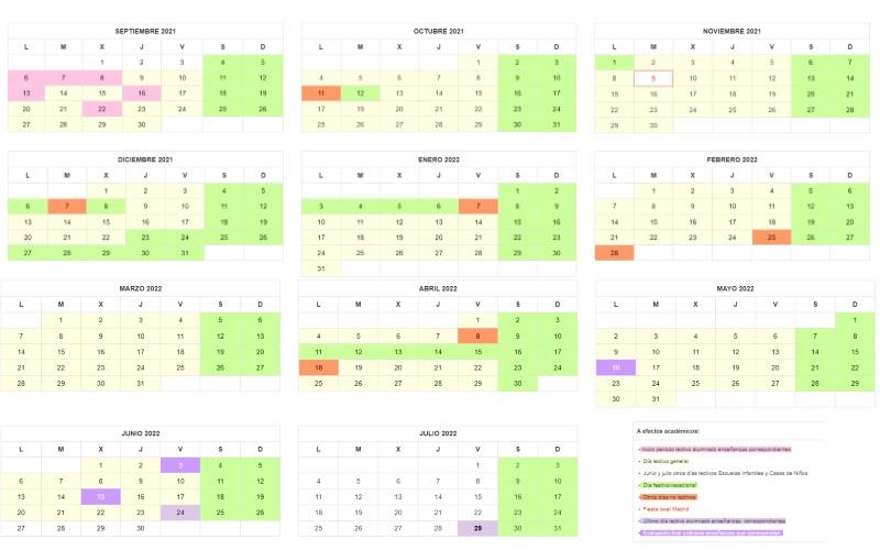 Este es el calendario escolar para el curso 2021-2022 en Arganda del Rey